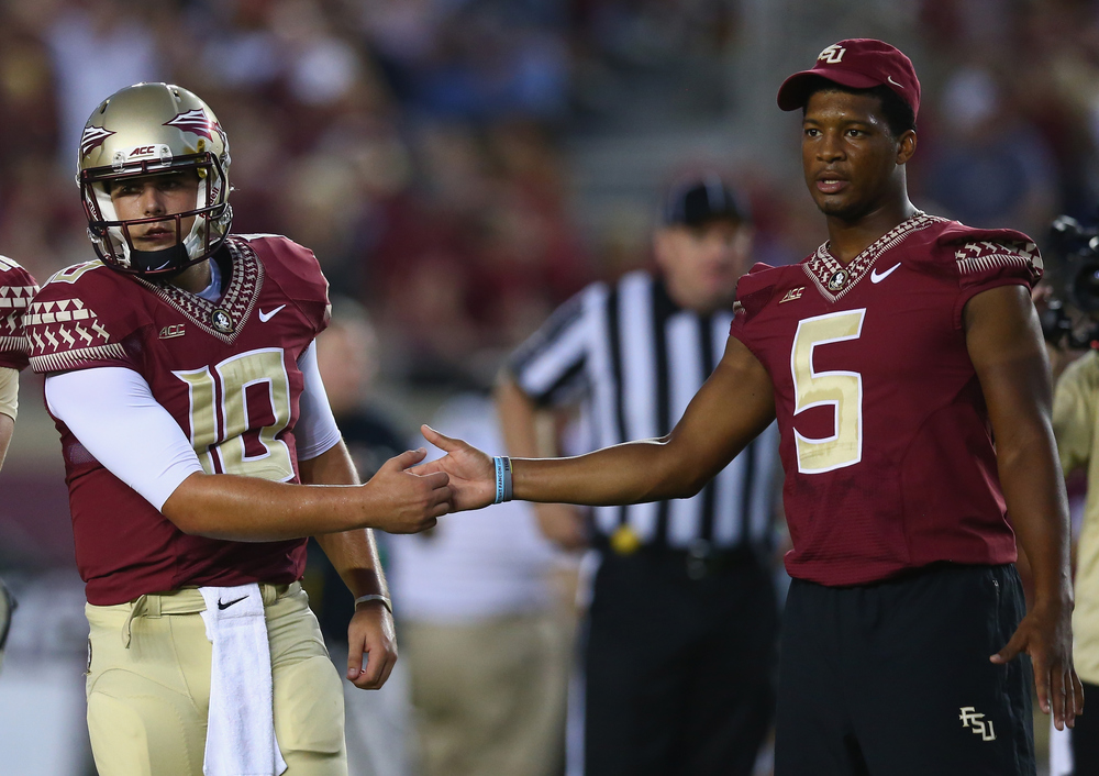 Without Jameis on the field, the Seminoles found themselves in deep trouble against Clemson, but his presence and support on the sideline was still valuable. (Ronald Martinez/Getty Images)