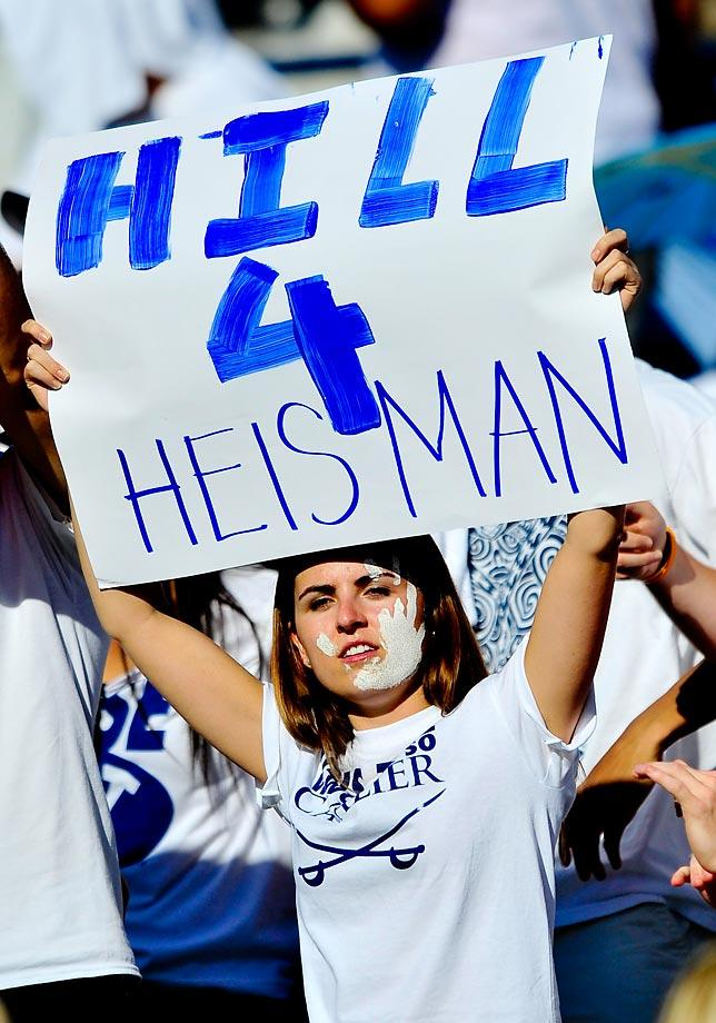 A BYU fan give her vote for Heisman. Taysom Hill has scored 13 total touchdowns this season in only 4 games. It's without question he is an early favorite for the Heisman. He must continue to produce and the Cougars must keep winning. (Boyd Ivey/Icon Sportswire)