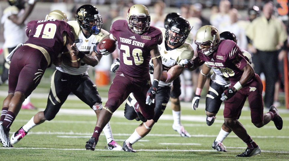 Franks (20) had touchdowns run of 70 yards, 95 yards, and 70 yards during the Bobcats 35-30 win over Idaho. (AP photo)