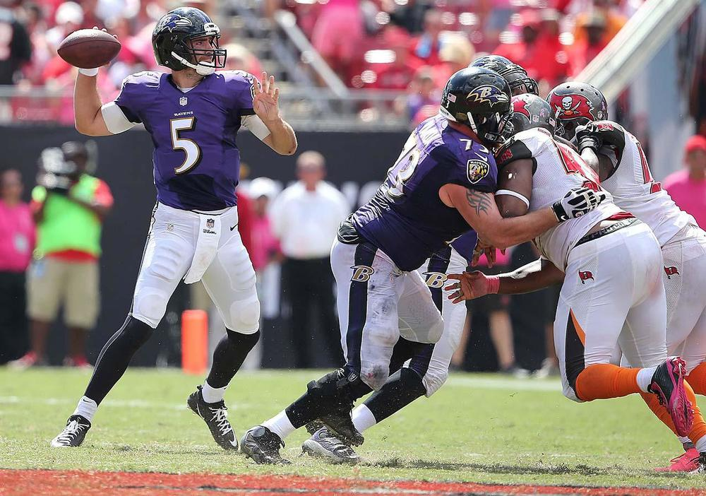 """Flacco has the potential to be an """"elite"""" QB and when he has games like this, you want to throw his name in there. Unfortunately, consistency has been an issue for him and the Ravens when it comes to being an high powered offense. (Gary Bogdon/SI)"""