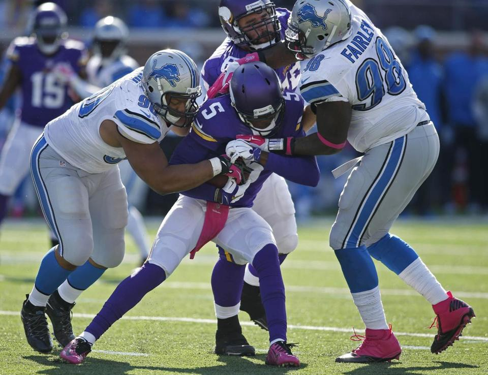 This was not a fun game for Teddy. He was sacked 8 times and threw 3 interceptions. The Vikings scored 3 points and accumulated 212 total yards. (BRUCE KLUCKHOHN/USA TODAY SPORTS)