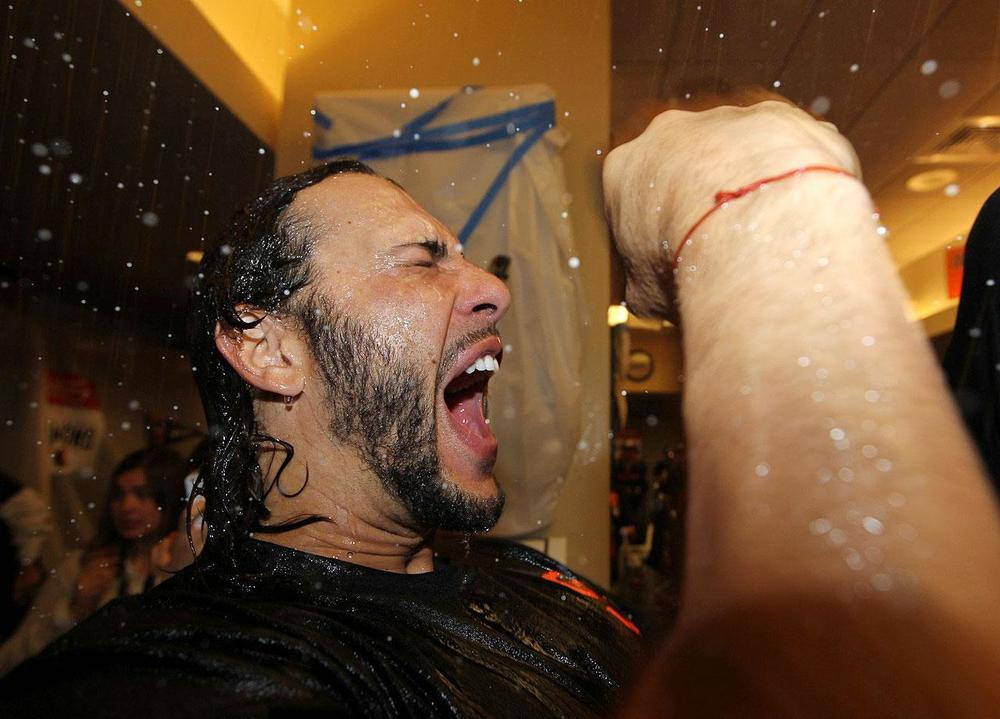 Pinch hitter, Michael Morse hit a solo home run to tie the ball game at 3 in the 8th inning. When he got to the dugout, he told the team that it felt like he floated around the bases. (Brad Mangin/SI)