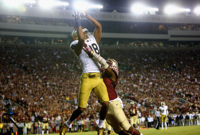 Corey Robinson, the son of NBA HOF, David Robinson, showed out Saturday night in Doak Campbell stadium. The 6'5 sophomore had a career night with 99 yards and 2 Tds, averaging 12.4 yards a catch. If it wasn't for an offensive interference penalty, he would have had the game winning catch. You will see this kid on Sundays. (Getty Images)