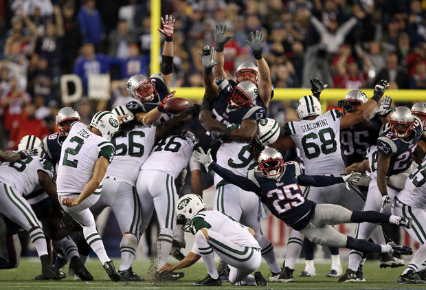 I never really like putting the game in a kicker's foot, but Nick Folk has been a solid kicker in the league, and when the opposing team has a wall like this, it's nothing the kicker can do about it. ((John Munson | NJ.com)