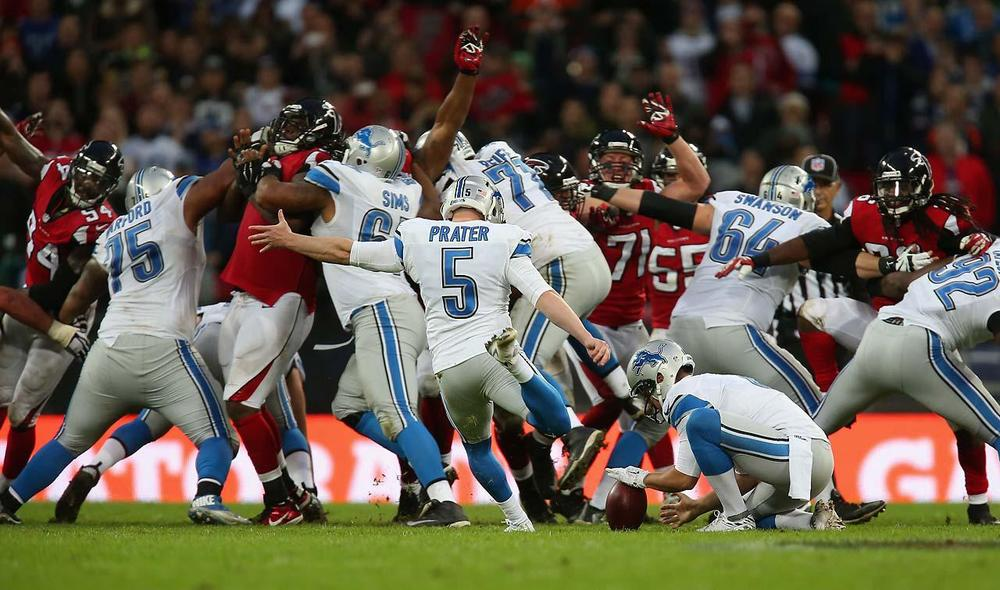 Al halftime, the Falcons were up 21-0. Somehow someway, without Calvin Johnson, they managed to score 22 unanswered points in the second half, Matt Prater providing 9 of those, also kicking the game winner. Guess the Lions kicker issues are over. (Jordan Mansfield/Getty Images)