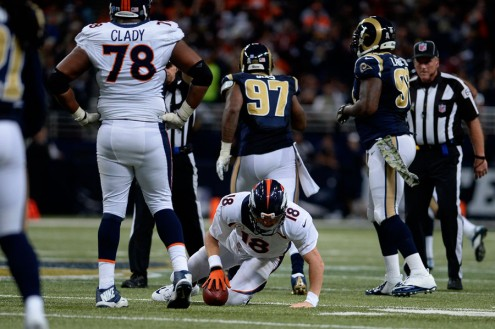 Peyton threw a total of 54 passes, only completing 34 of them in what was a bad game for the Broncos. He was only sacked 2 times but threw 2 interceptions. Definitely not a good day for Mr. Manning. (AP Photo)