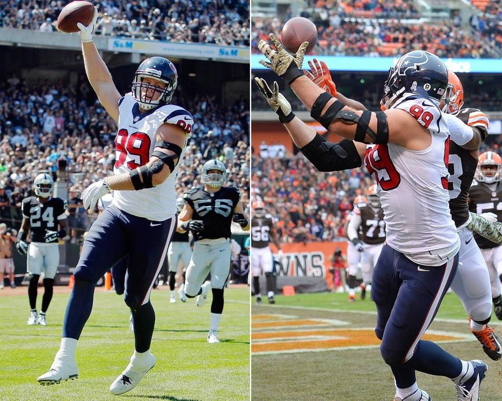 JJ Watt leads all defensive players with 4 TDs, 2 on the defensive side and 2 on the offensive side.(Brian Bahr/Getty Images, Jason Miller/Getty Images)