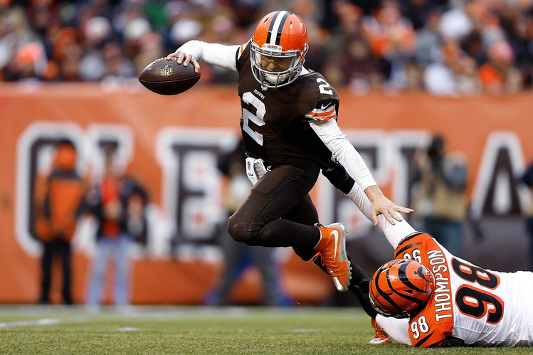 It was a rough day for Manziel and the Browns in his first start, offense only totaling 107 yards. (AP Photo)