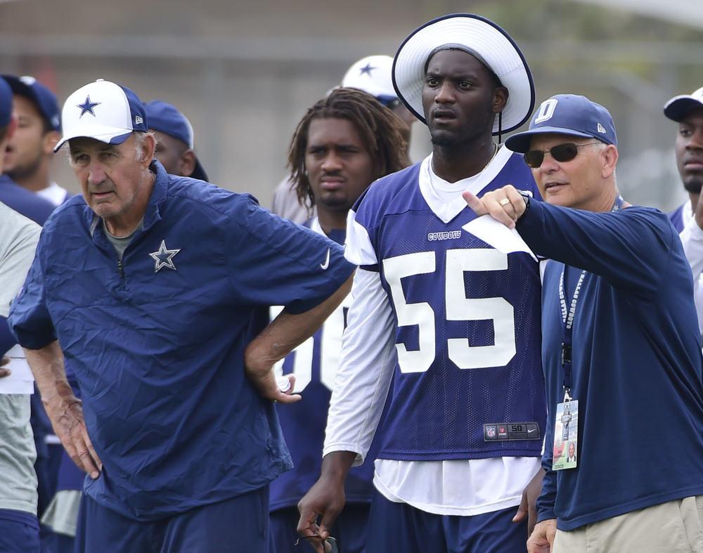 "(Left to Right; Monte Kiffin, Rolando McClain, Rod Marinelli) Two of these men has helped put the ""D"" back into Dallas, pun intended. While this is Kiffin second season with the Boys, Marinelli and McClain came this season and has mad tremendous impact. Marinelli took over the defensive coordinator duties, while McClain filled in for Sean Lee and may have found himself a new home.  (Michael Ainsworth/The Dallas Morning News)"