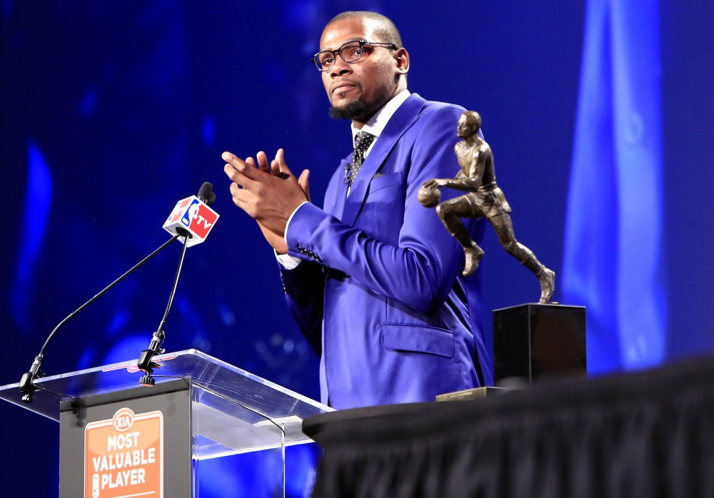 """Kevin Durant gave one of the most genuine and heartfelt MVP speeches in any sport. He gave props to each player on his team, also coaches, training staff, and front office personnel, along with a crowning mom dukes as """"The Real MVP"""". (AP Photo)"""