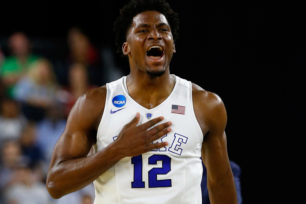 Justice Winslow in his hometown of Houston led the Blue Devils to another Final Four appearance, Coach K's 12th. While Tyus and Jahlil are the two household freshmen, sometime people forget how talented of a freshman Justice. (Getty Images)