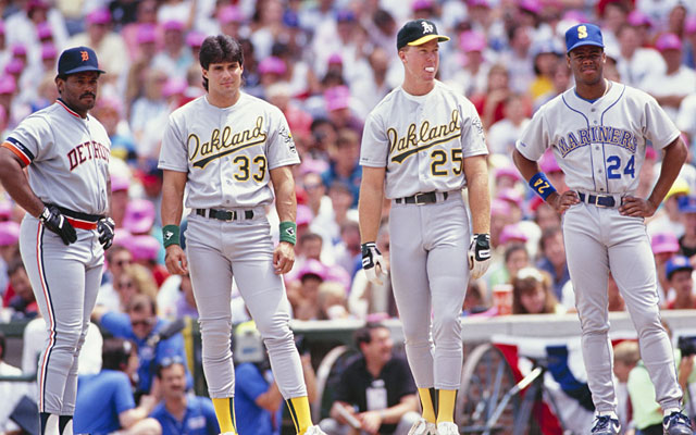 Left to right, Cecil Fielder, Jose Canseco, Mark McGwire, and Ken Griffey Jr. In the 1990 Home Run Derby these 4 combined for one Home Run from Mark McGwire. Stinky. (Getty Images)