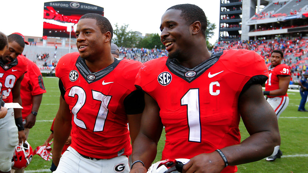 "Nick Chubb (27) and Sonny Michel (1) make up the best backfield in the country. Unlike other backfields that have a ""thunder and lightning"" tandem, this is thunder and more thunder. (AP Photo)."