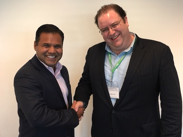 ...and More to Come! - At left: Deputy Mayor of London for Business Rajesh Agrawal (himself a fintech worth $100 million), with TechFire CEO David Murphy, meeting at London City Hall in 2017 to discuss potential future consulting for the Mayor of London's economic development agency.