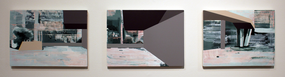 5. Nathan Brooker,  Experiments with Scraping 216 (1-3) , Oil and spray paint on MDF, (1 and 2) SOLD (3) $200
