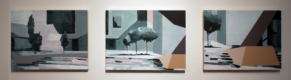 27. Nathan Brooker,  Environment Studies 216 (1-3) , Oil and spray paint on MDF, $200 each