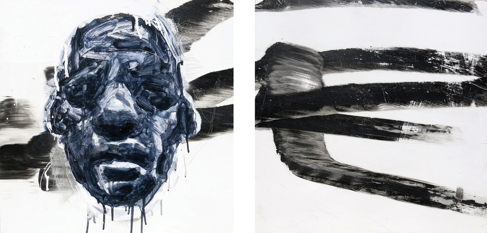 11 Andy Quilty,  Standstill  2014, assisted motorbike burnout, oil and enamel on coated aluminium, diptych: each panel 57 x 57 cm, $2,600