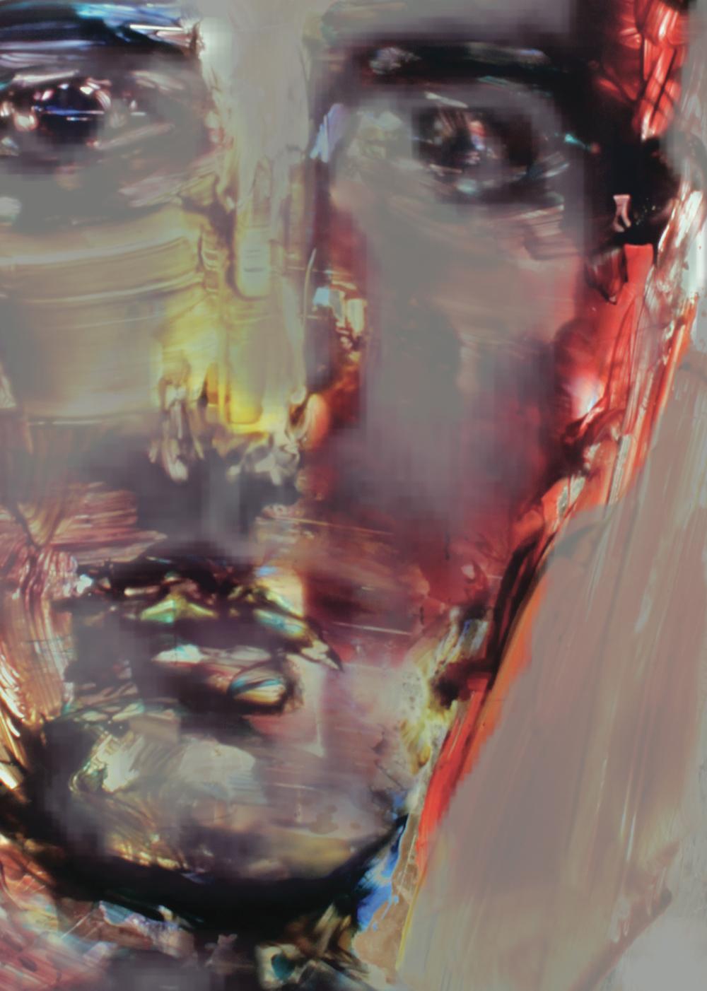 15 Daniel Webster,Self Portrait (Detail) 2014, digital print, acrylic, Japanese ink, triptych: each panel 80 x 57 cm, $5,000