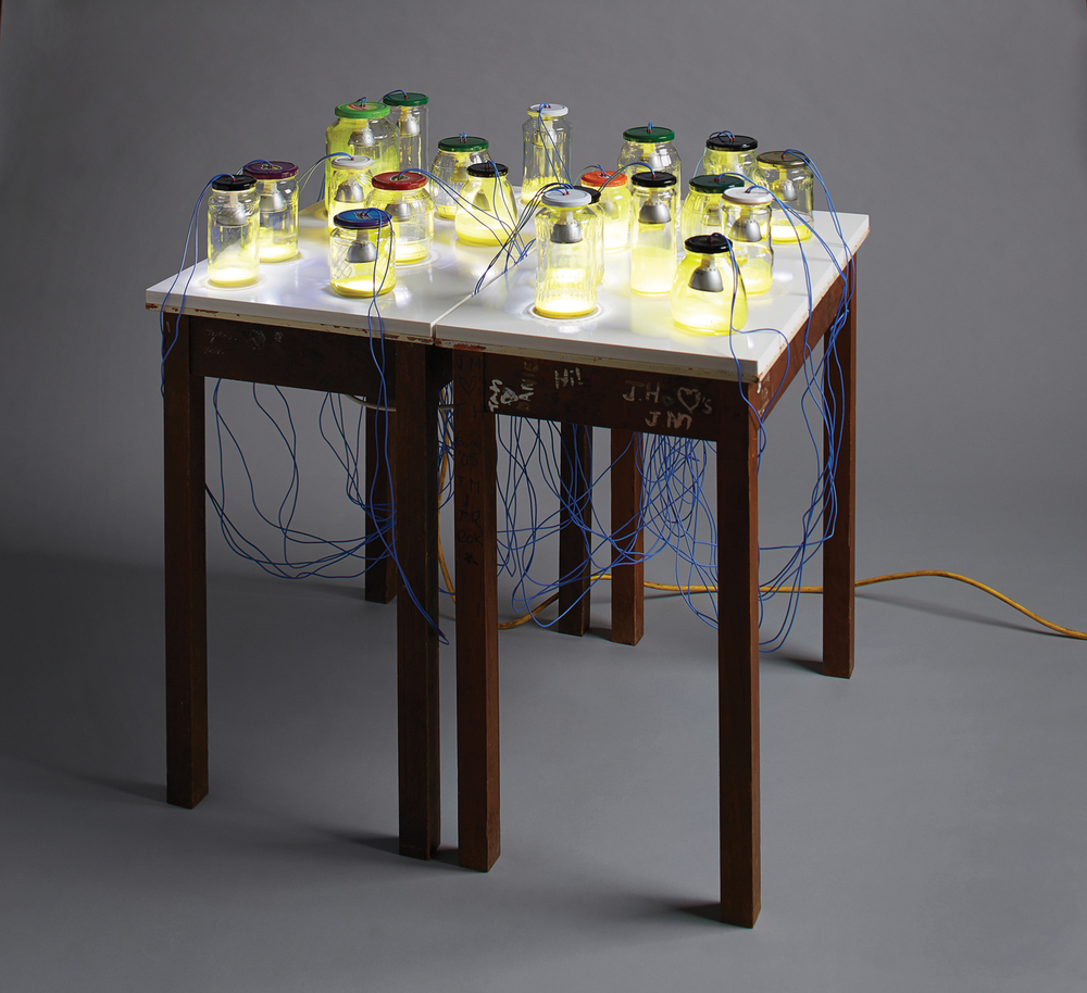 16 Jurek Wybraniec,  Yellow (May 2014)  2014, enamel, compressed PVC, wood, LED lamps, electrical components, glass, 96 x 92 x 76 cm, $7,000