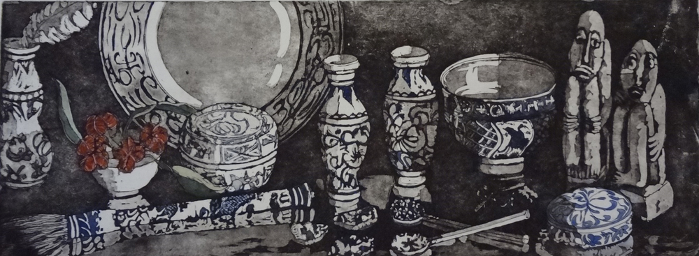 4. Helen Clarke,  Blue Collection , hand coloured etching, $490