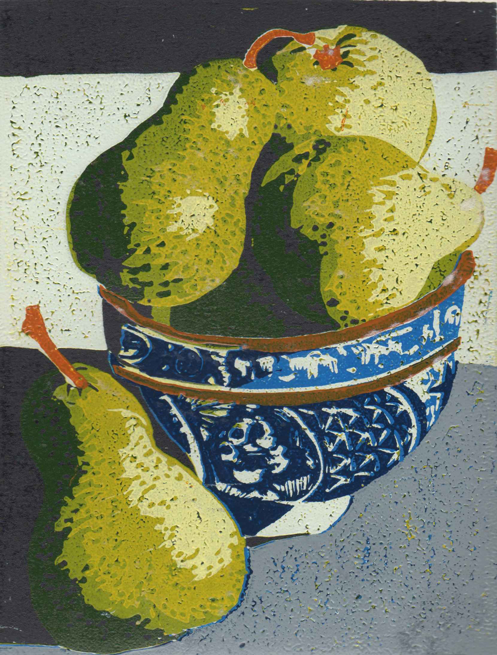 10. Helen Clarke,  Pears , reduction linocut, $250