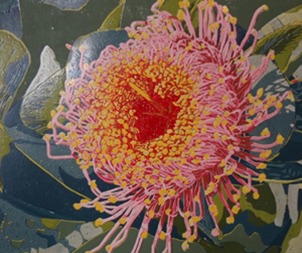 23. Helen Clarke,  Rosea Mottlecah , reduction linocut, $970
