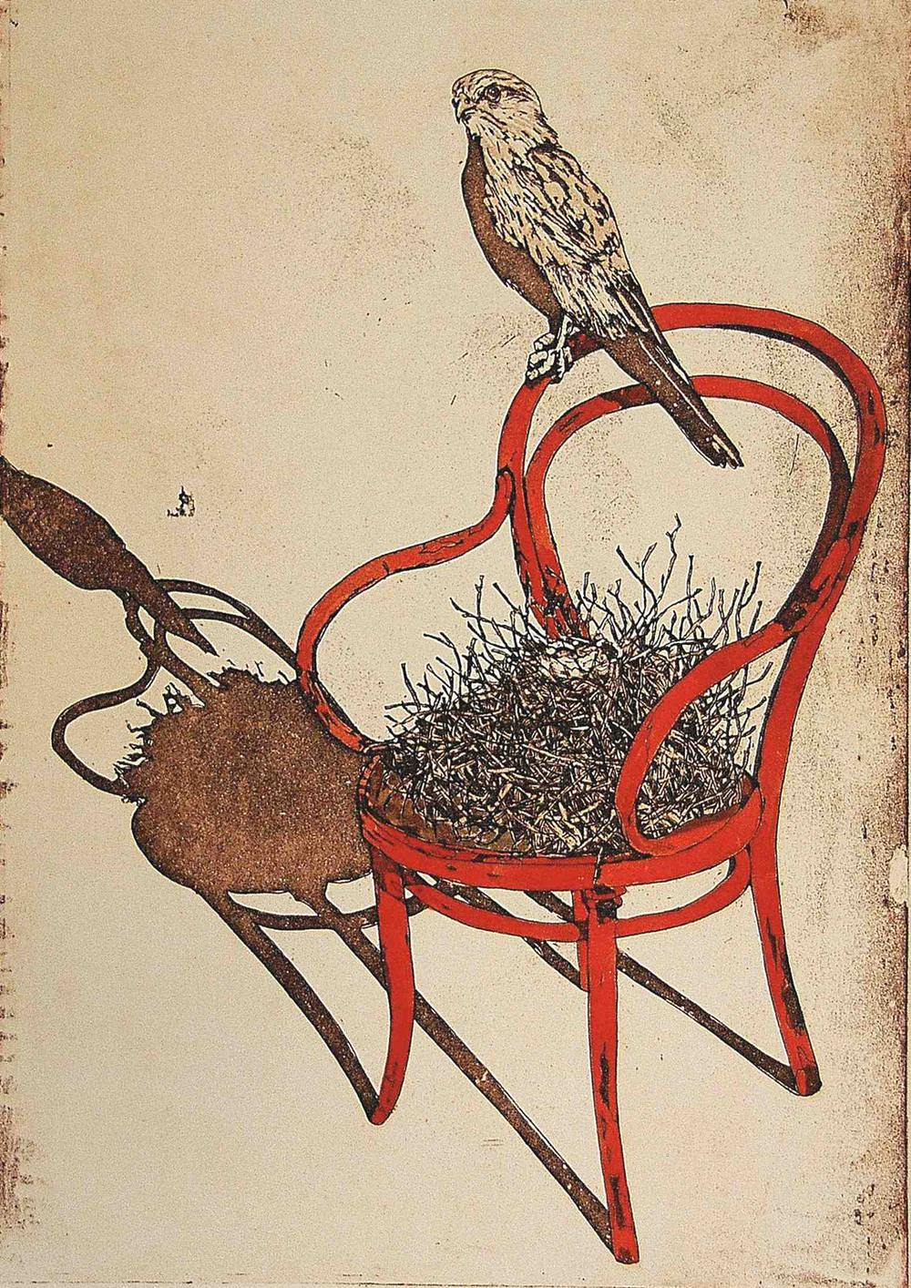 19. Helen Clarke,  Red Chair , hand coloured etching, $720