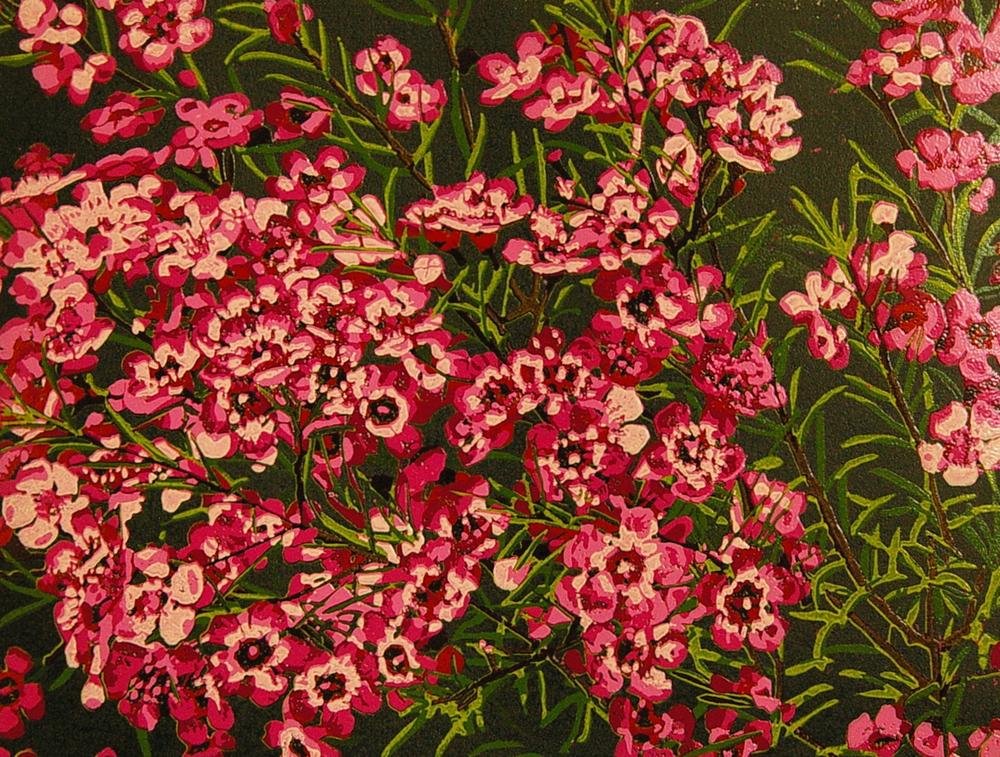 28. Helen Clarke,  Wax Flower , reduction linocut, $450