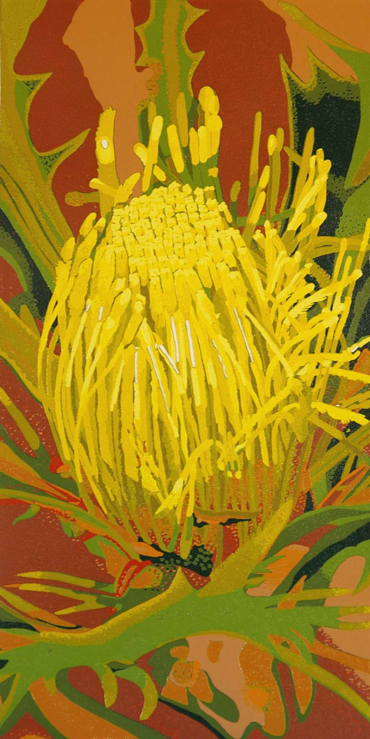 39. Helen Clarke,  Golden Dryandra , reduction linocut, $970