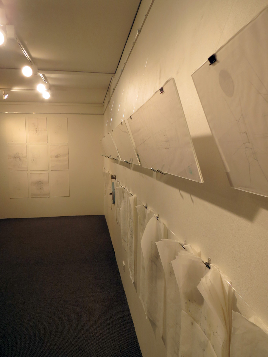 6.   Shannon Williamson,   Grid 2   (Install Detail), pencil, masking tape, drawing and tracing paper, $450 each   7.  Beth George,   Morning House Explorations (2)  (Install Detail), mixed media installation, NFS