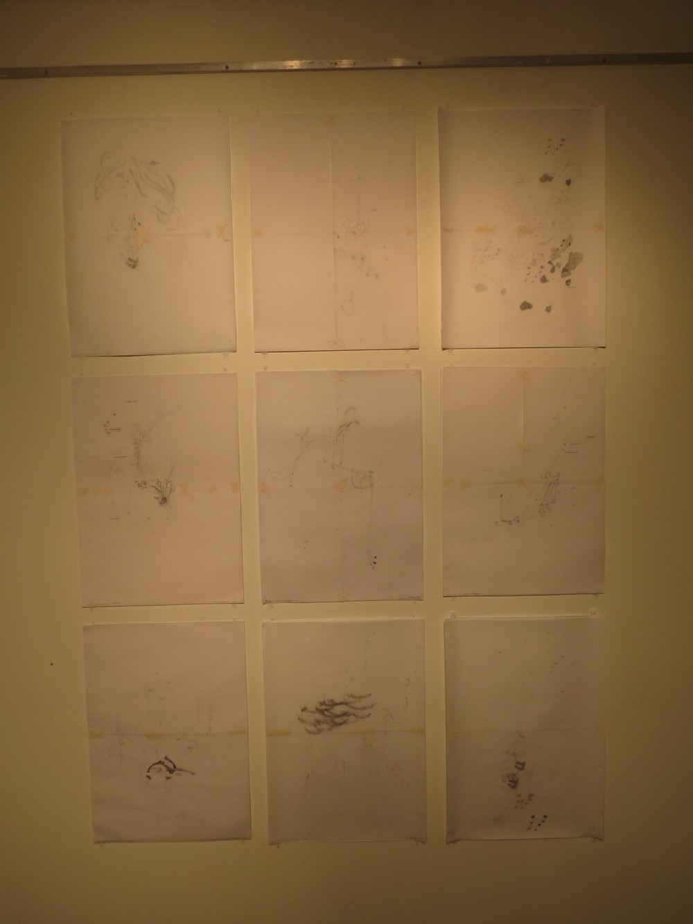 6. Shannon Williamson,  Grid 1 , pencil, masking tape, drawing and tracing paper, $450 each