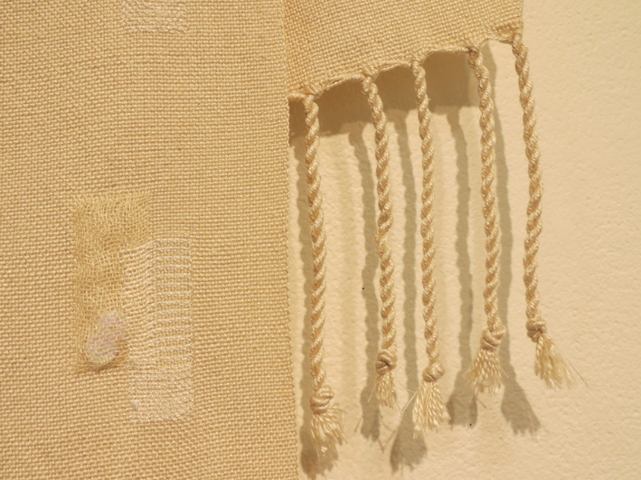 8. Kay Faulkner,  A Collection of Curiosities III  (detail), hand woven in doubleweave with supplimentary weft brocade, silk, triacetate, sequins wrap, $310