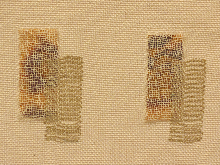 9. Kay Faulkner,  A Collection of Curiosities II,  hand woven in doubleweave with supplimentary weft brocade, silk, rusted silk fabric, $155