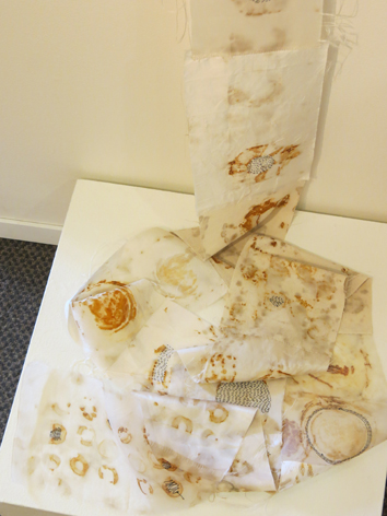11. Deb McArdle,  Deteriorate , silk fabrics rust marked and hand stitched, NFS