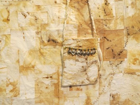 16. Heike Gerbig,  Possum Paper Dreaming  (detail), paper tablecloth, material, paper, dyed, stained, machine and hand stitched, NFS