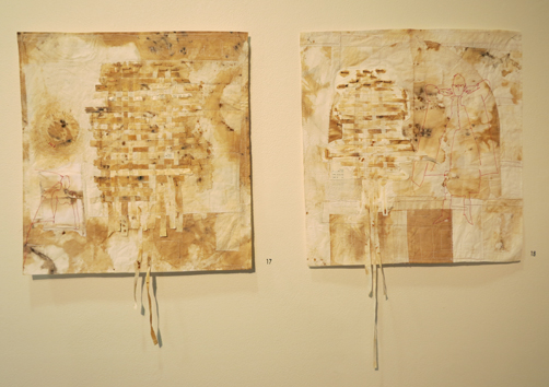 17, 18. Heike Gerbig,  Flying Time I and II , paper tablecloth, material, paper, dyed, stained, machine and hand stitched, NFS