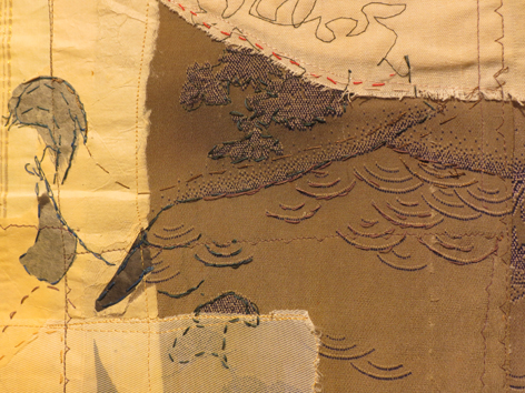 19. Cas Holmes,  Exposition from a Tea Garden  (detail), paper, textiles, machine and hand stitched