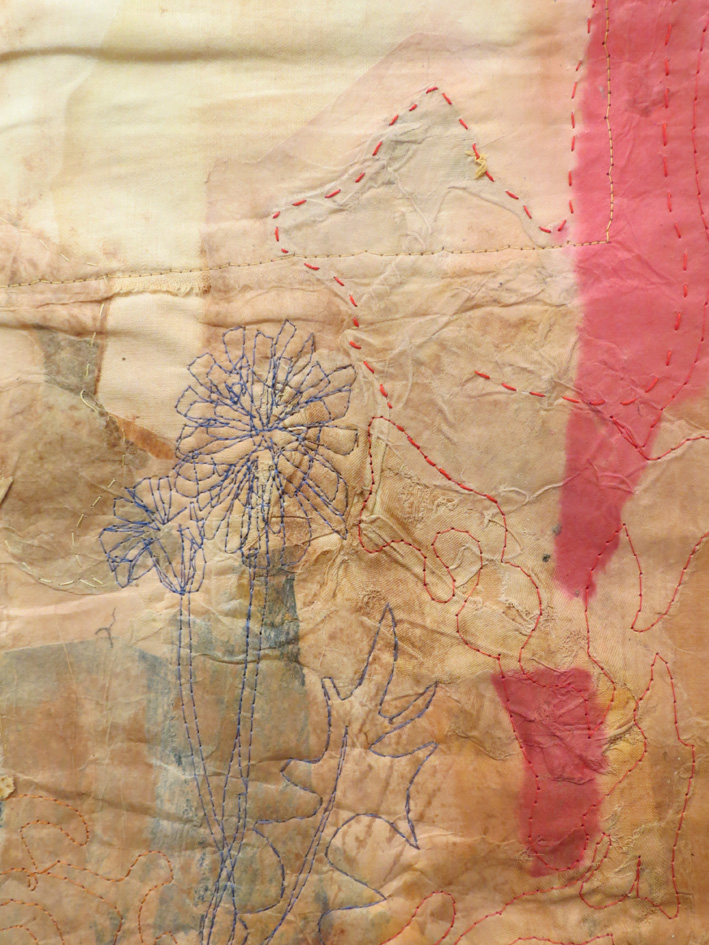 32. Cas Holmes,  Dent du Lion  (detail), paper, textile, machine and hand stitched