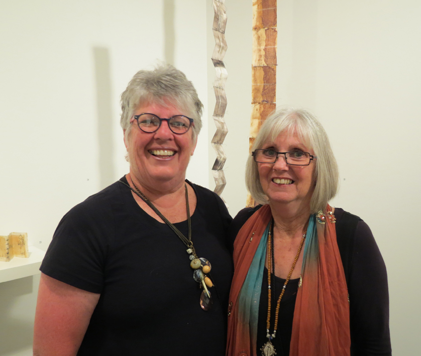 Exposition curator Glenys Mann with WA artist Pam Fisher at the opening