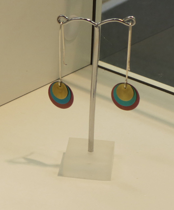 2.  Trio earrings i , anodised niobium, sterling silver $90