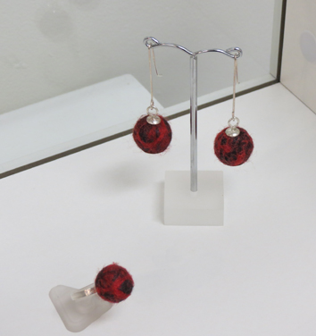 34.  Spice  earrings, synthetic fibre, merino wool, sterling silver $105  35.  Spice  ring, synthetic fibre, merino wool, sterling silver $115