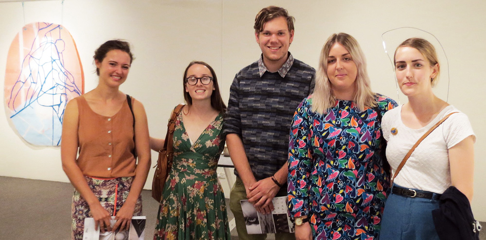 Tessa Beale, Carly Lynch, Matt McAlpine, Jazmin Mckechnie and Jess at the opening night of the  Watch This Space 2015  exhibition