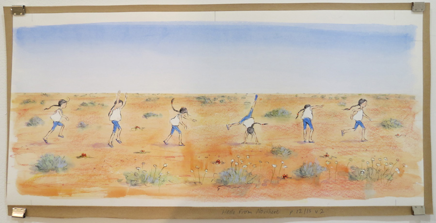 3.  Eve Running  by Karen Blair, pencil, watercolour, pastel, charcoal pencil, NFS
