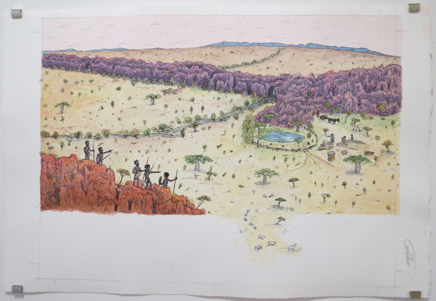 16.  While their sheep fattened on fertile pastures  by Terry Denton, watercolour on paper, NFS