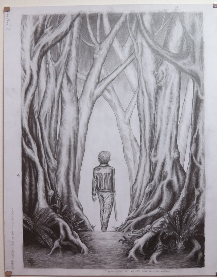 44.  The Boy Walks  by Den Scheer, graphite on card, $430