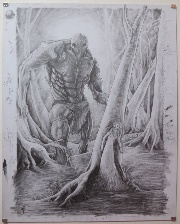 46.  The reveal of Evil  by Den Scheer, graphite on card, $430