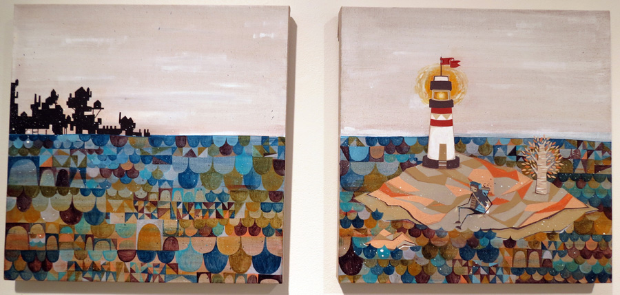 47 - 48.  Page 1 and 2  by Kyle Hughes-Odgers, acrylic on Belgian linen, NFS