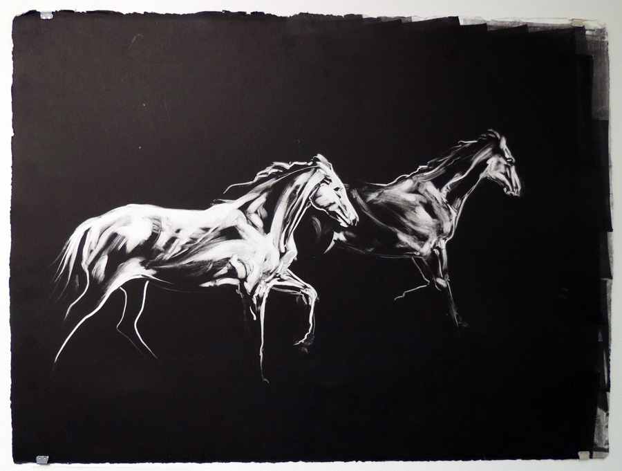 75.  The Two Horses Run Together  by Den Scheer, monoprint, $310