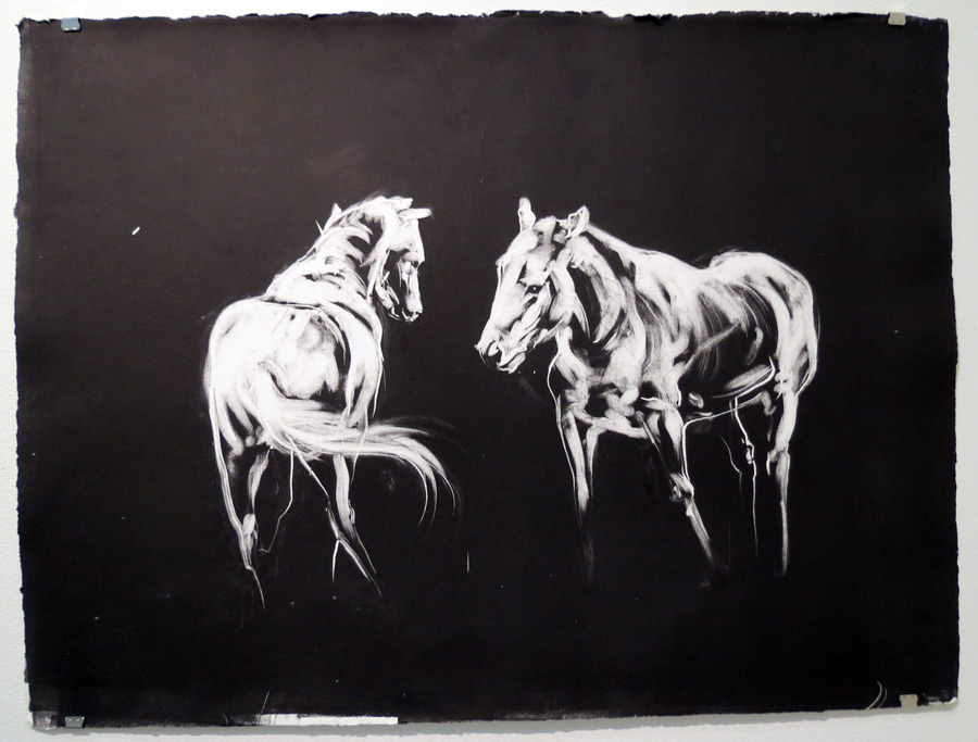 77.  The Two Horses See  by Den Scheer, monoprint on Arches paper, $310
