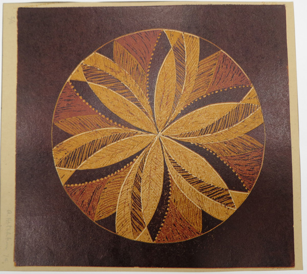 A1. Alma Hotchkin,  Collaboration 5-6,  Lino block, 1974, $200